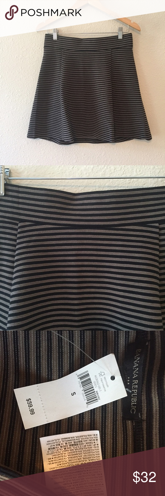 {BR} Striped Fit Flare Skirt Brand new with tags. Adorable and perfect for fall with a sweater and flats. A bit of a stretch for extra comfort. Pull this baby on for an easy outfit on a running-late kinda morning! No trades please. Banana Republic Skirts Mini
