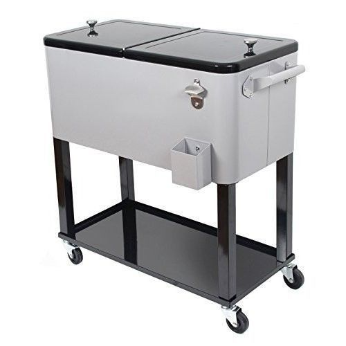 Rolling Ice Chest Portable Patio Party Bar Drink Outdoor Cooler Car Wheels
