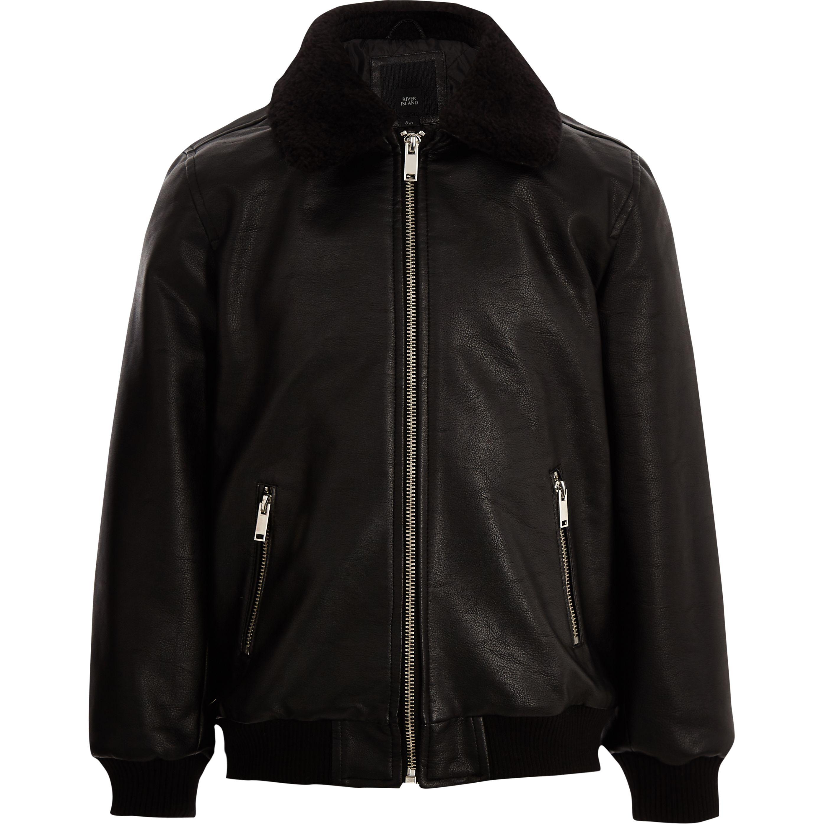 Boys black faux leather borg collar jacket | Borg collar ...