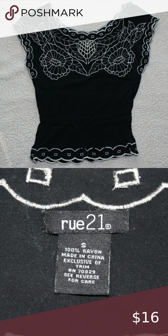 Rue21 Black and Cream Stitched Blouse Small