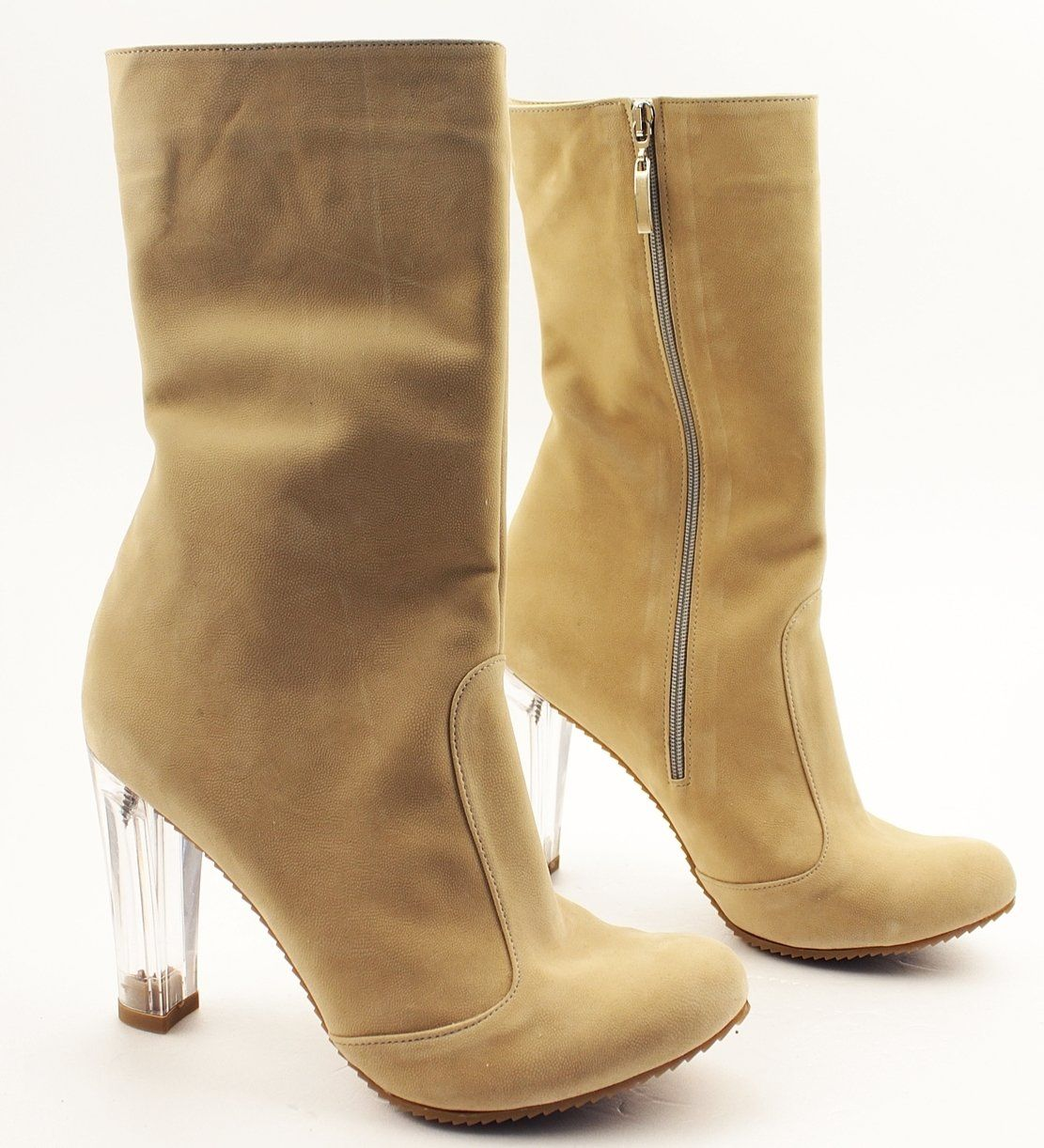35041fe90511 Cream Suede Transparent Heeled Boots – Tajna Club Stylish Shoes For Women