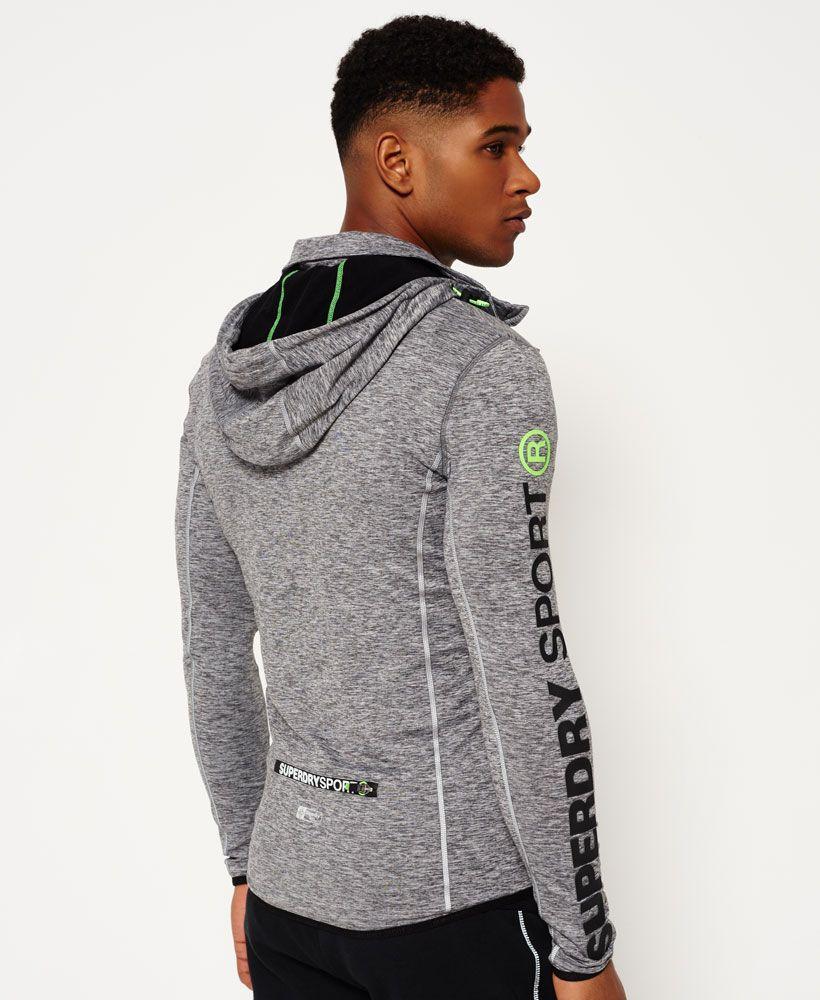Mens - Sports Athletic Panel Zip Hoodie in Steel Grey Granite