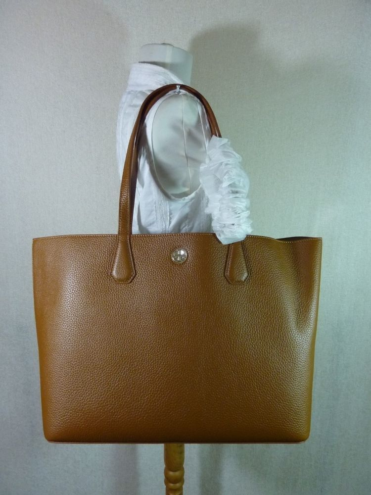2ed649f3786 NWT Tory Burch Bark/Light Gold Pebbled Leather Perry Tote $395 #ToryBurch  #TotesShoppers