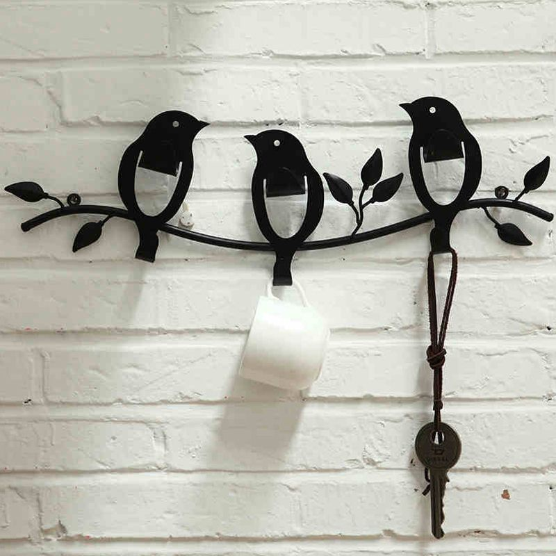 Iron Birds Leaves Robe hooks Home Bathroom Wall Mount Hook Clothes ...