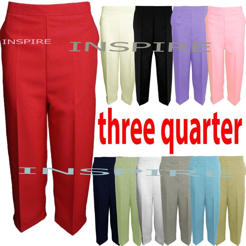 LADIES WOMENS ELASTICATED WAIST THREE QUARTER 3//4 CAPRI CROPPED PANTS TROUSERS