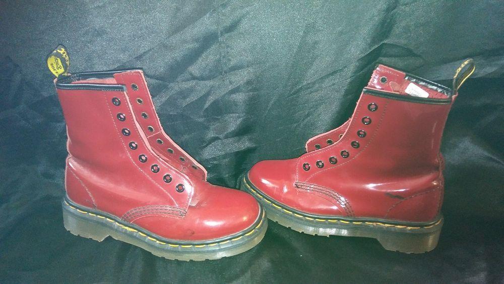 b9da5b168a4 MARTENS Size 3 Air Wair DELANEY Red Patent Boots Girls Juniors #DrMartens # Boots #DocMartens