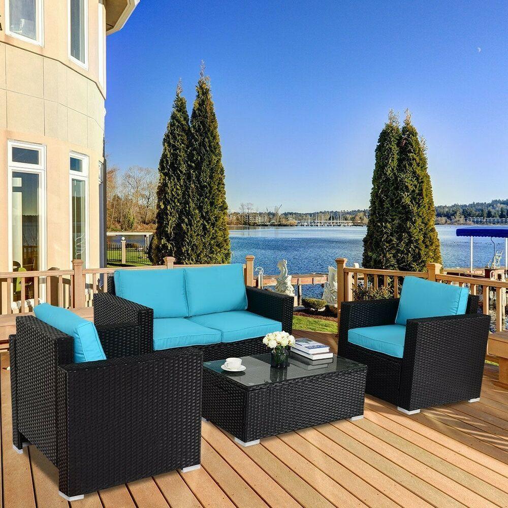 4 PCS Outdoor Wicker Rattan Patio Sofa Set Garden Couch ...