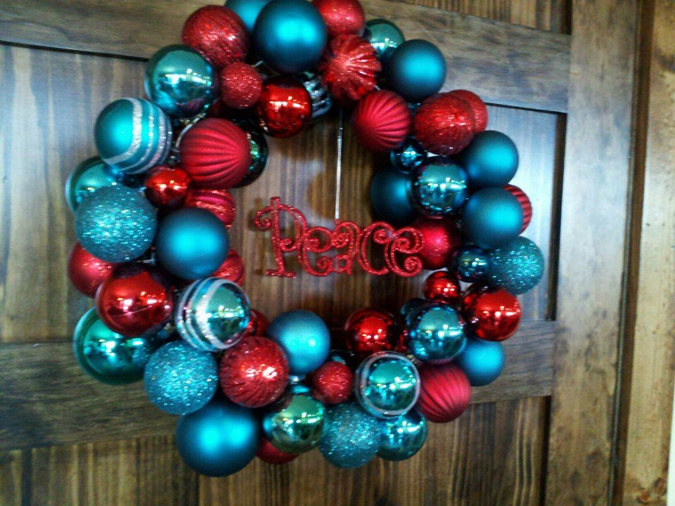 Ornament Wreath Teal And Red Christmas Decor Decorations
