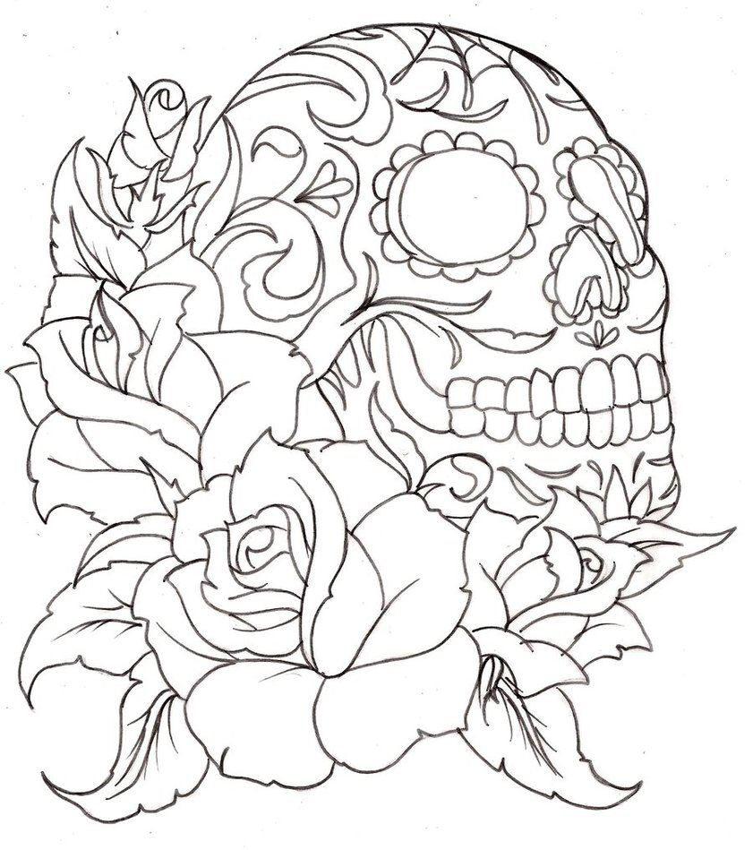 Tattoo Coloring Page Skull And Roses Skull Coloring Pages Tattoo Coloring Book Rose Coloring Pages