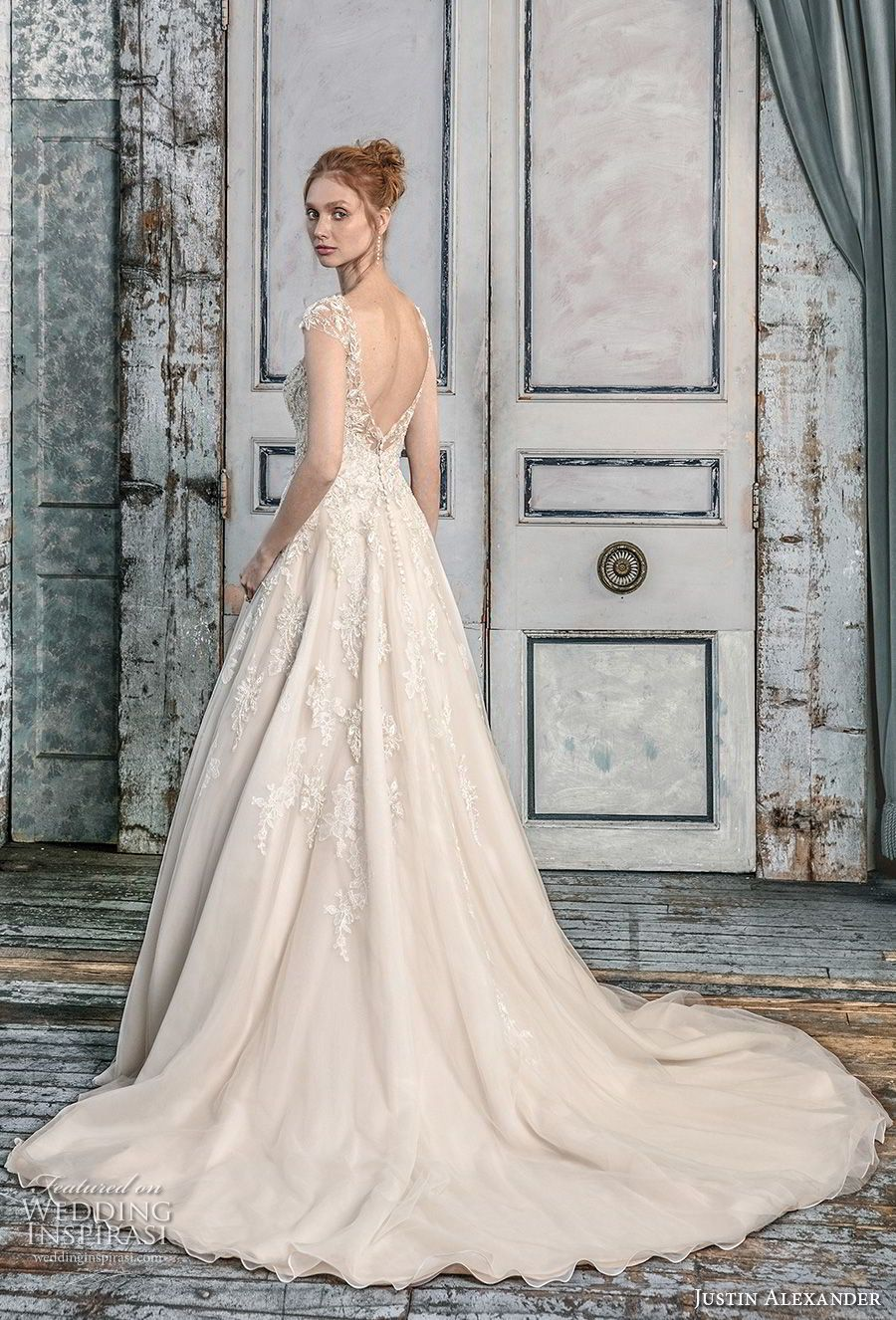 6ad69092d6b justin alexander fall 2018 signature cap sleeves illusion bateau sweetheart  neckline heavily embellished bodice romantic champagne a line wedding dress  open ...