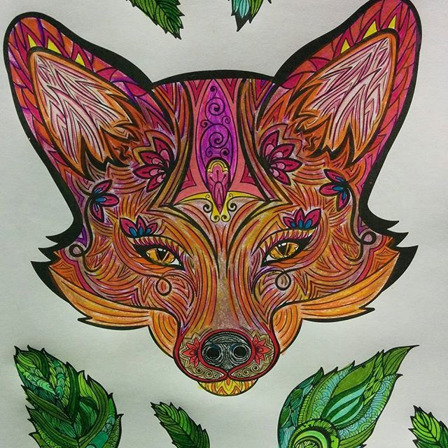 #fox #adultcolouring #coloringbookforadults #coloringbook #tribalprint #papp_leisure #pappleisure #coloringbooks #colourful #patience happy foxy lady