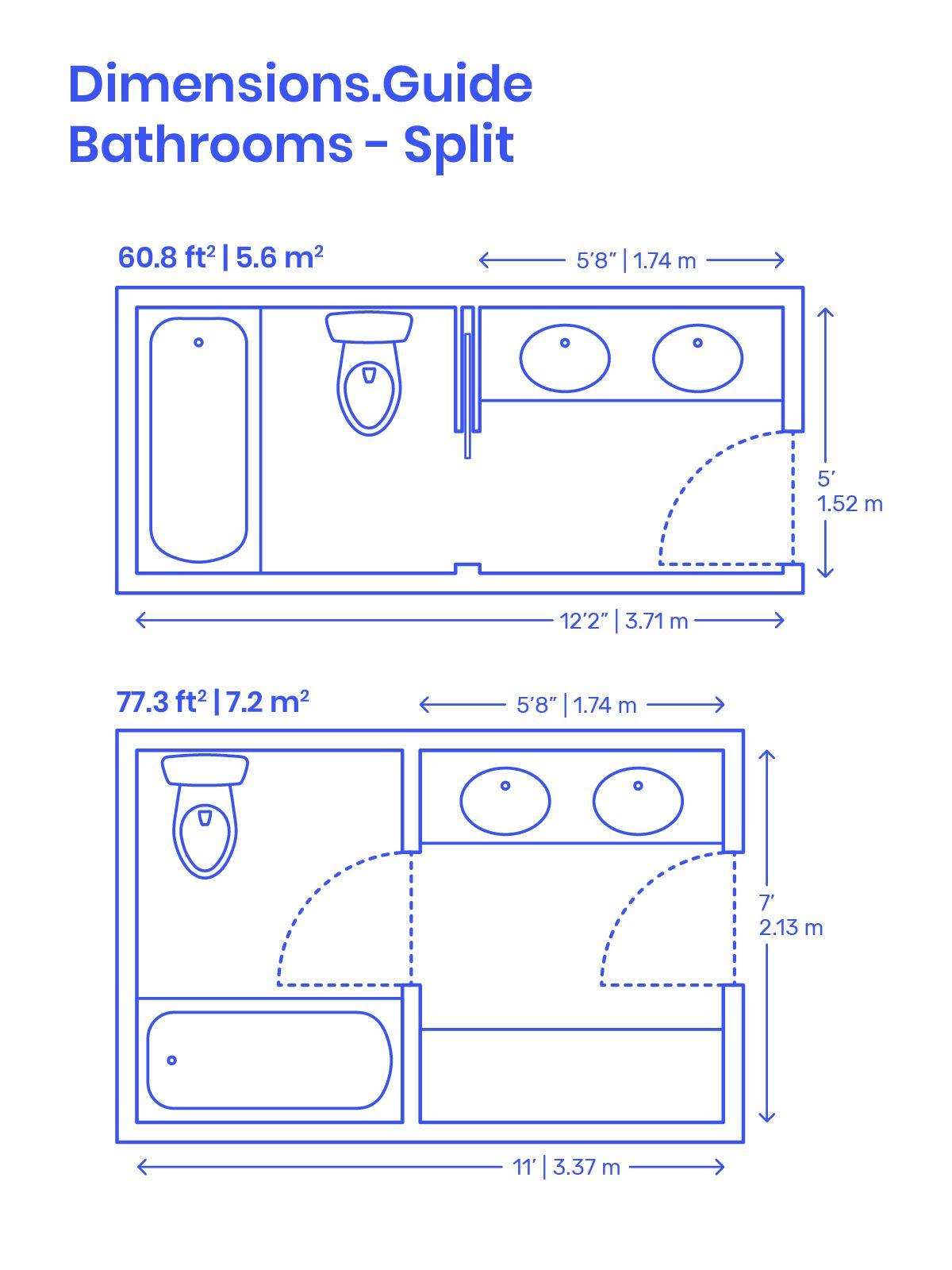 Split Bathrooms Bathroom Dimensions Bathroom Plans Bathroom Floor Plans