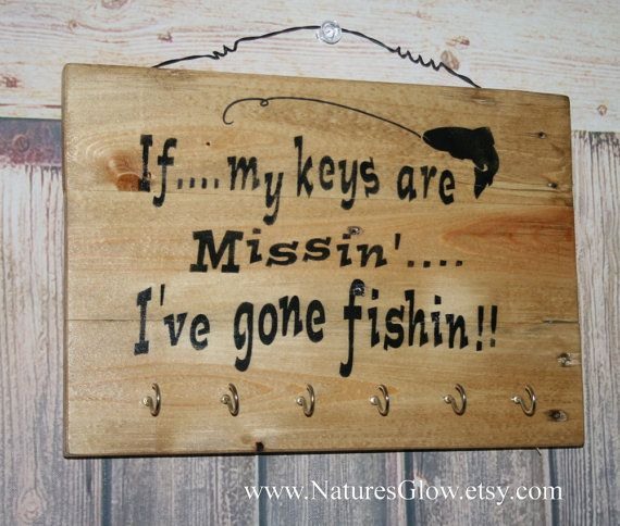 Gone Fishing Signs Decor Fishing Decor Key Rack Fisherman Gift Key Holdernaturesglow