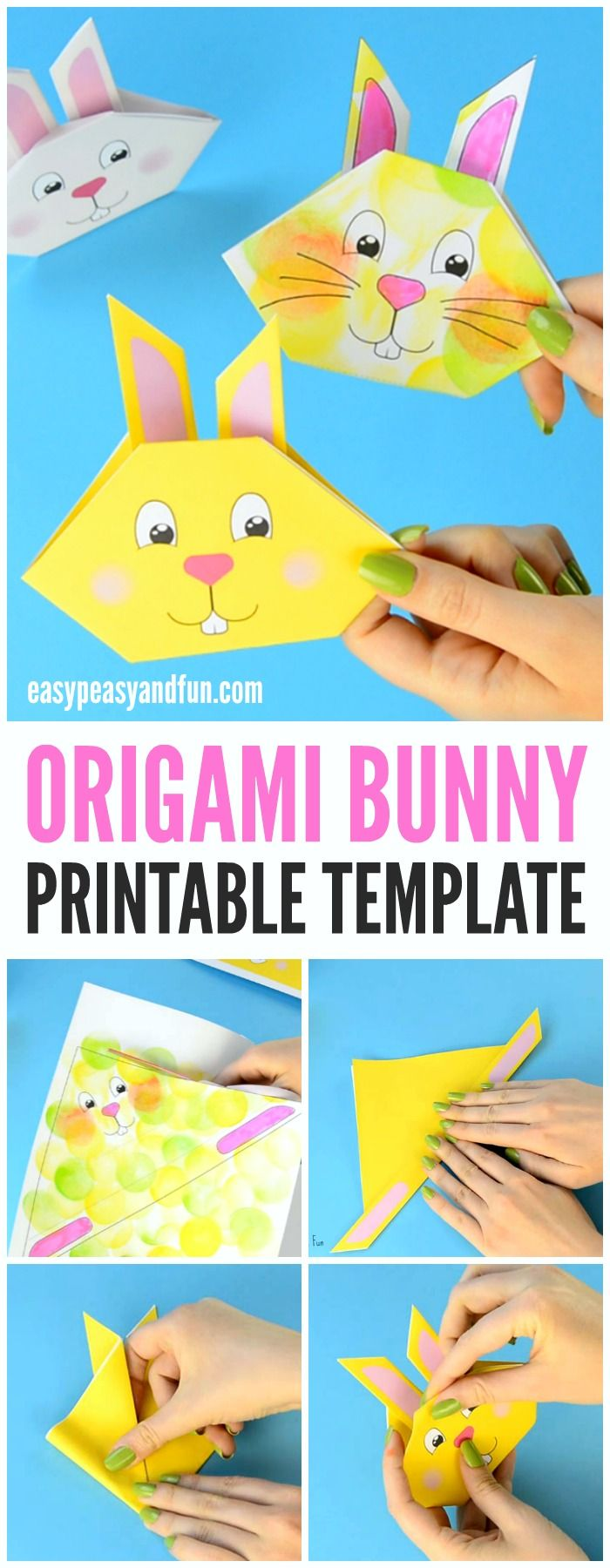 Origami Bunny Tutorial With Printable Template   Pinterest   Para ...
