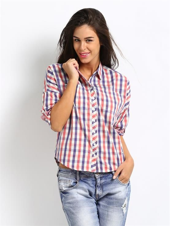 1ccbb2c90342 Pepe Jeans Women Red   Blue Checked Albany Casual Shirt   Indian ...