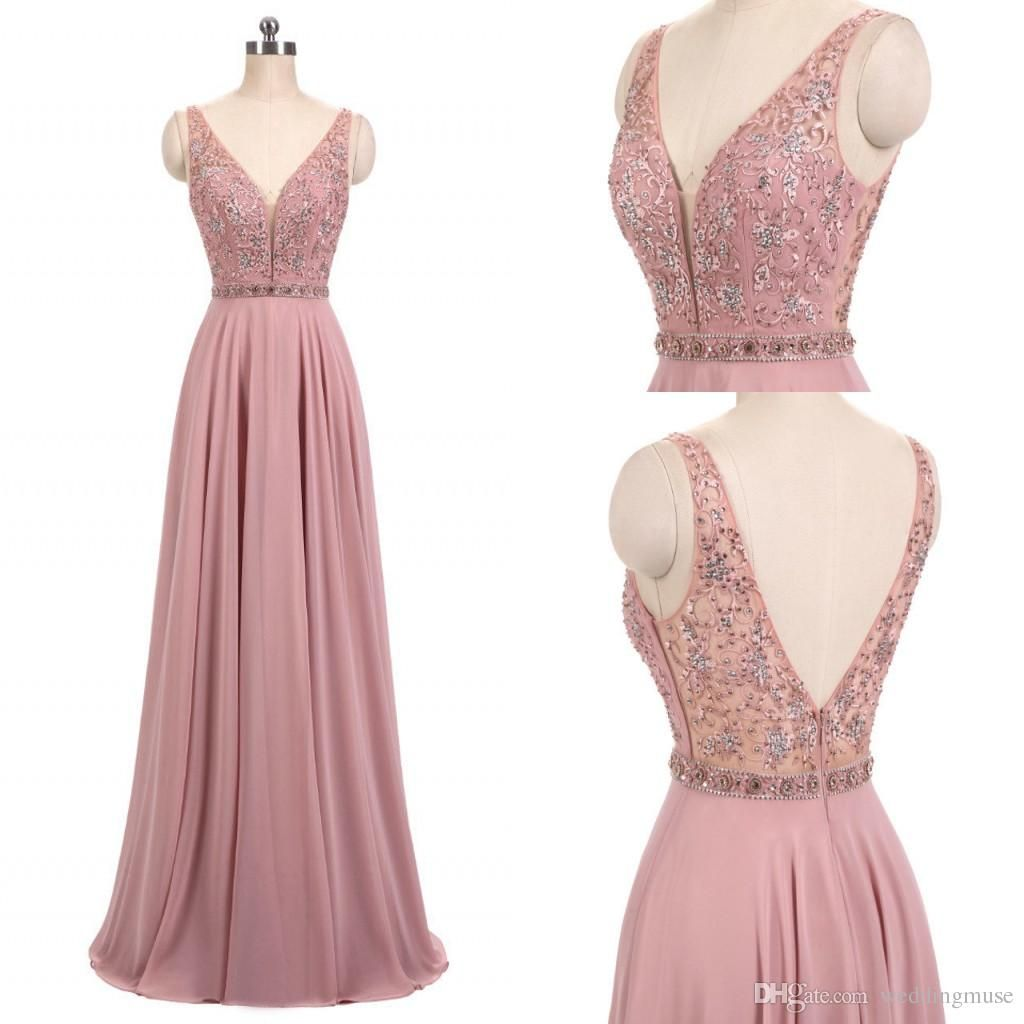 Cheap New 2018 Real Blush Pink Prom Dresses V Neck Sleeveless Beads ...