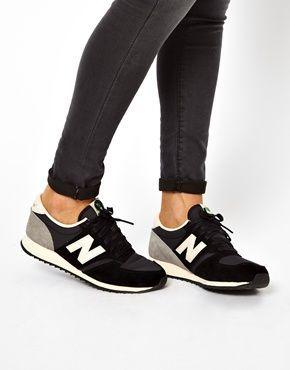 womens new balance black & white 420 microfiber trainers nz