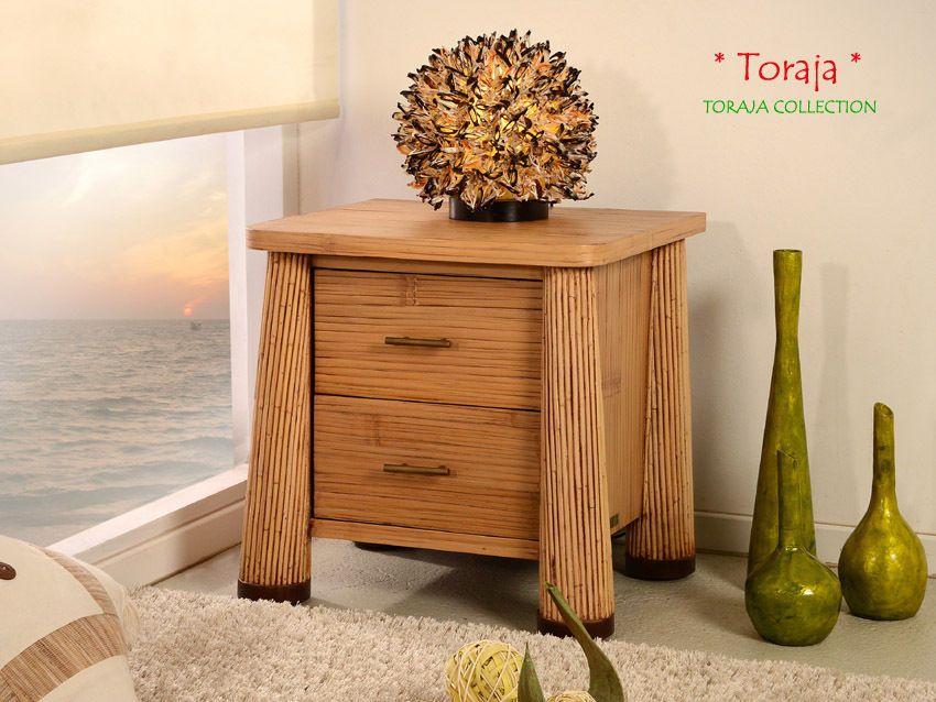 NACHTTISCH TORAJA NATUR BEISTELLTISCH BAMBUS RATTAN NACHTSCHRANK - bambus im wohnzimmer