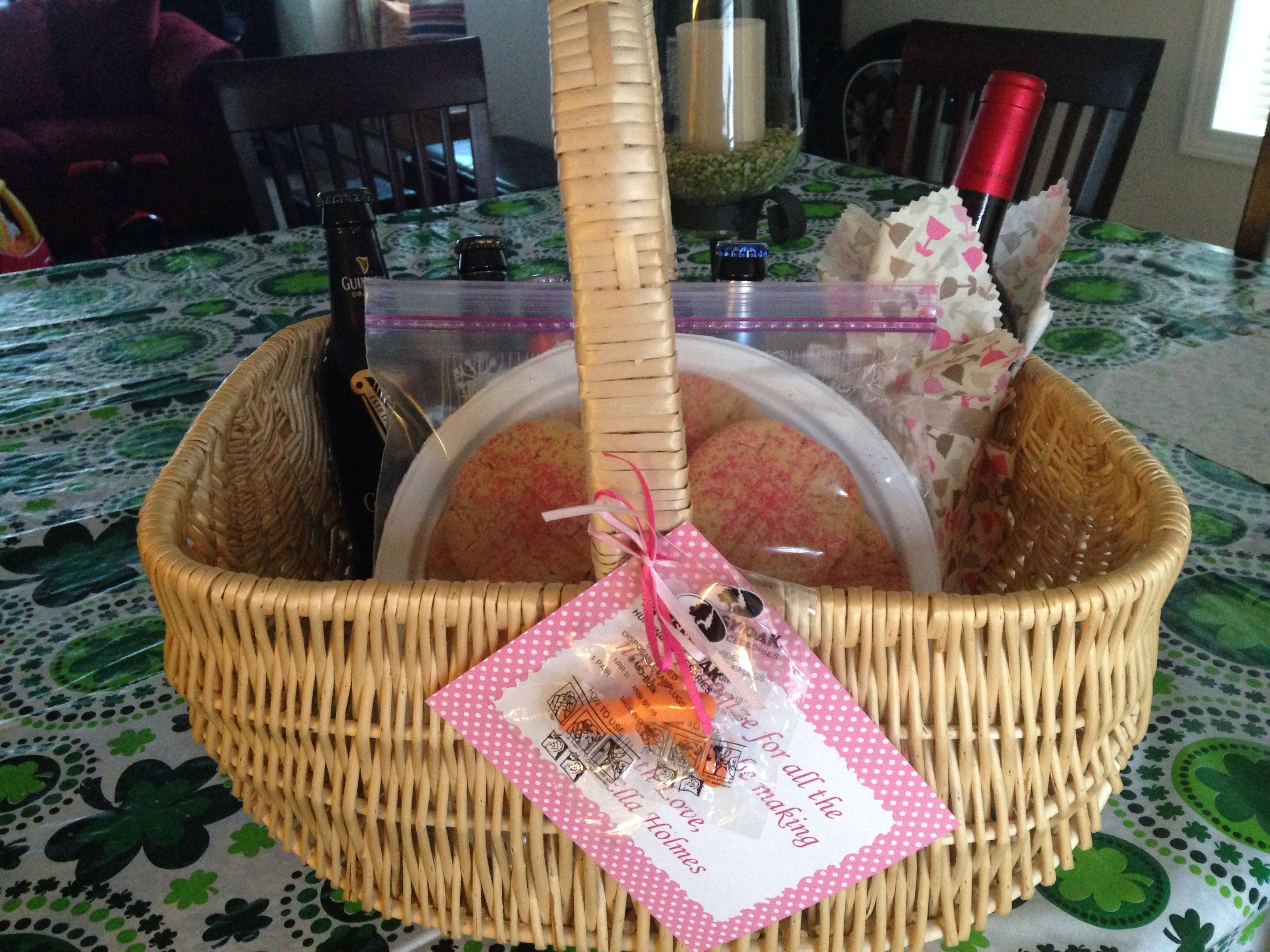 Gift for neighbors bringing newborn home wine beer