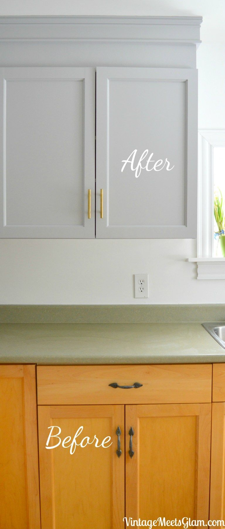 Kitchen Reno Part 3 Painting Builder Grade Cabinets Diy Kitchen Cabinets Kitchen Cabinet Plans New Kitchen Cabinets