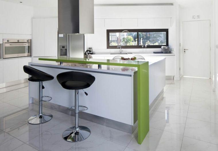 cocinas barra americana color verde ideas