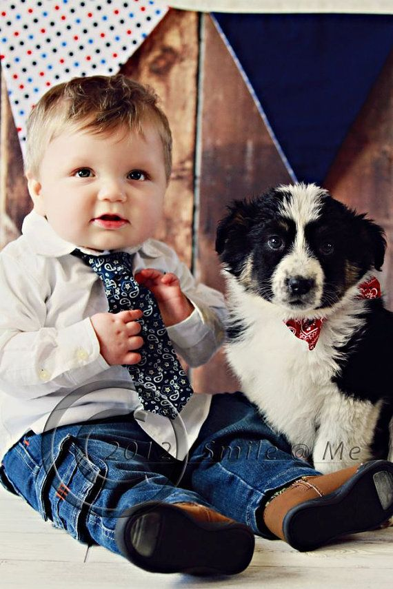 Baby and Puppy Ties to match with matching banner.  Ties and banner for sale, click thru to Etsy.