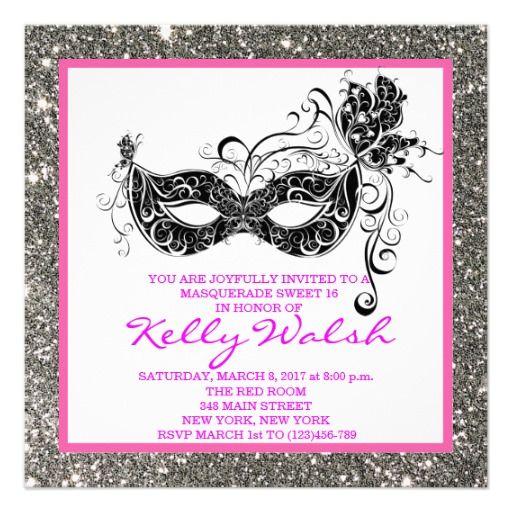 Silver Glitter Masquerade Sweet 16 Invitation Zazzle