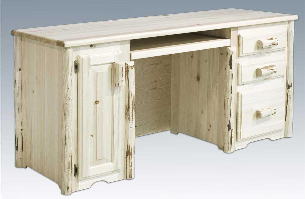 Montana Woodworks Unique Unfinished Computer Desk Log Furniture