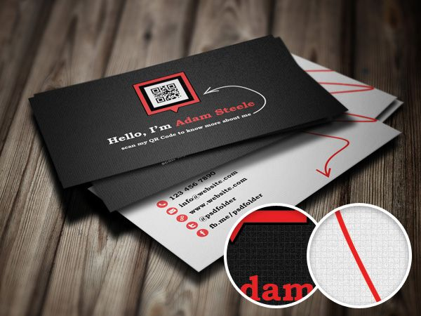 Free PSD: Scan my QR Code Business Cards