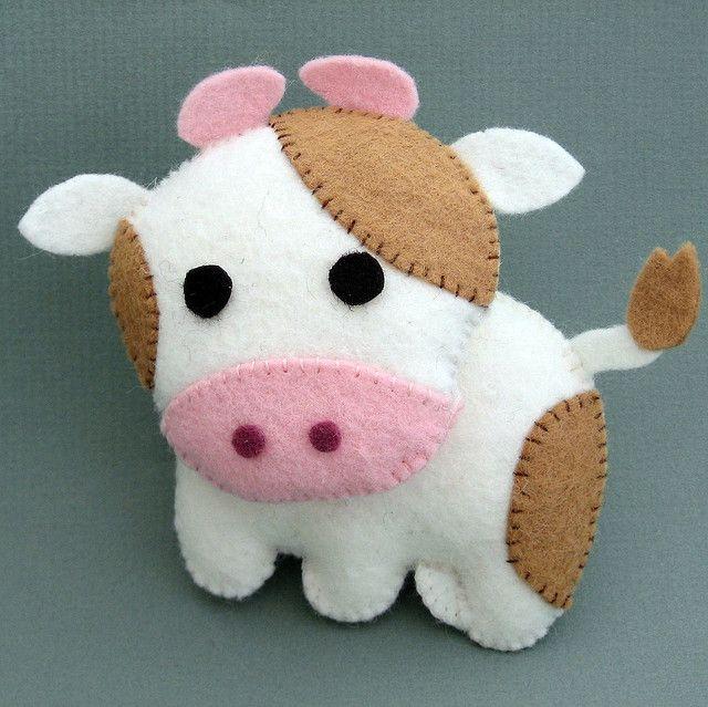 felt cow stuffie by mio