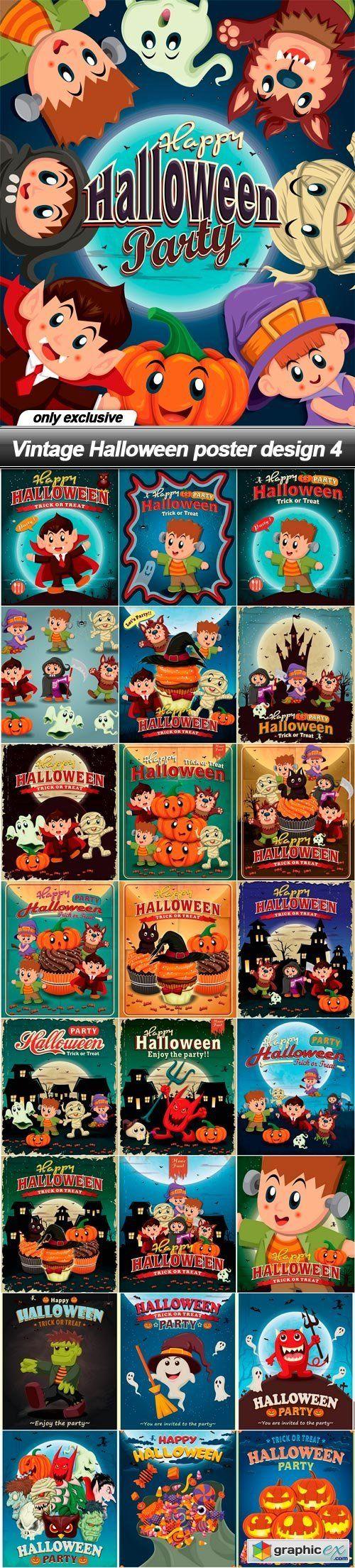 Poster design eps - Vintage Halloween Poster Design 4 25 Eps