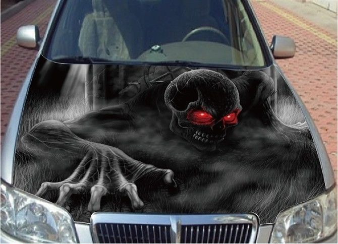 Full Color Graphic Vinyl Sticker Decal Skull Ghost Fit Car Hood - Custom design car decals free