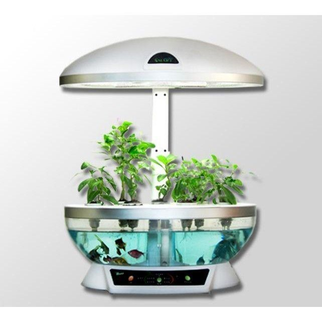 Aquaponics system fish tank aquarium planter grow light for Fish tank hydroponic garden