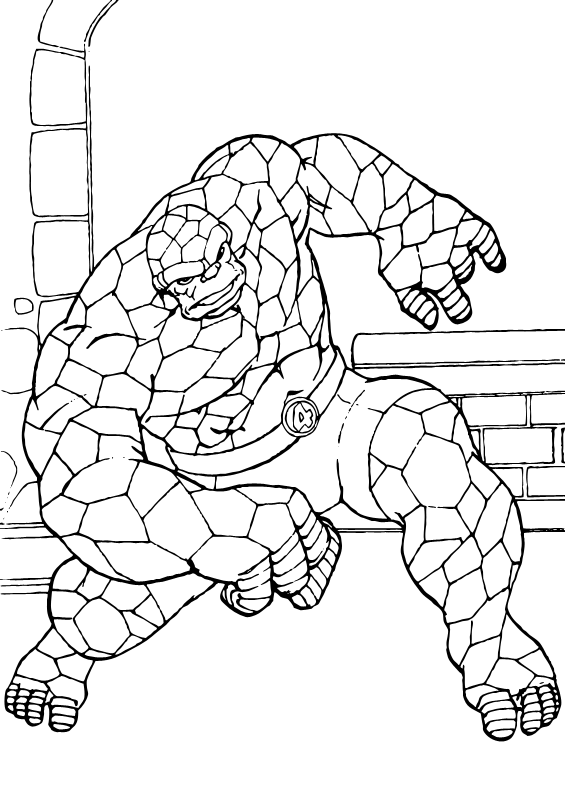 The Mighty Things Coloring page. The Fantastic Four superheroes are ...