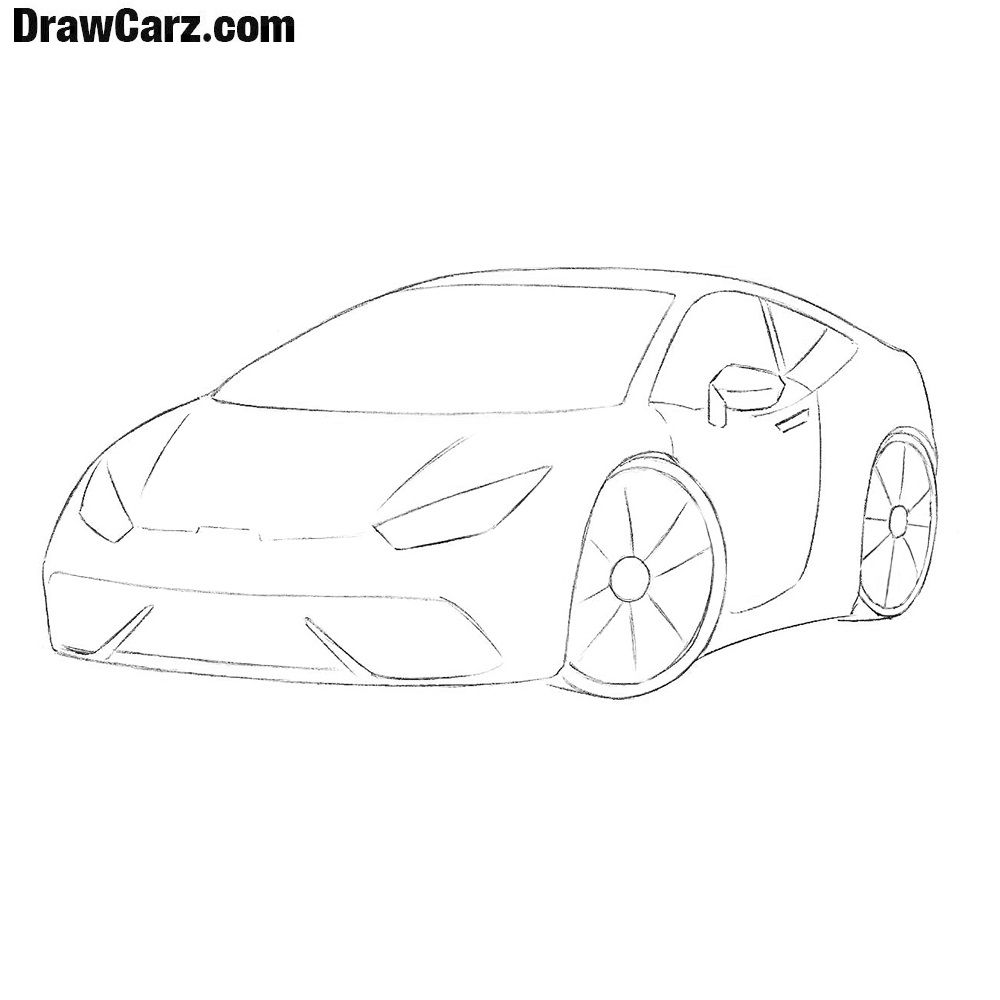 How To Draw A Car Step By Step Easy Car Drawings Cartoon Car Drawing Car Drawing Easy