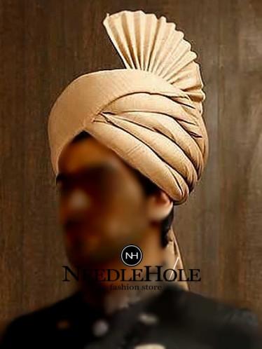 Pakistani Wedding Turban For Groom In Fawn Color Raw Silk Fabric Pakistani Wedding Fawn Colour Wedding Turban