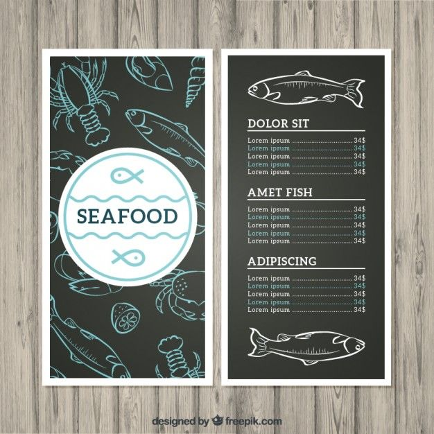 Seafood menu Free Vector Card \ Banner Pinterest Seafood menu - sample drink menu template