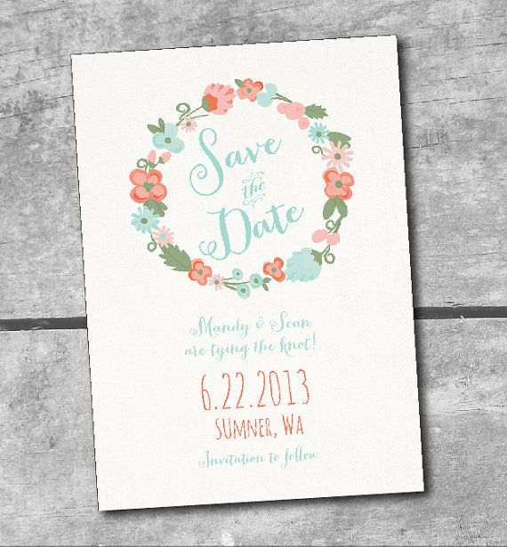 Coral And Mint Wedding Invitations: Rustic Floral Save The Date Printable Wedding Invitations