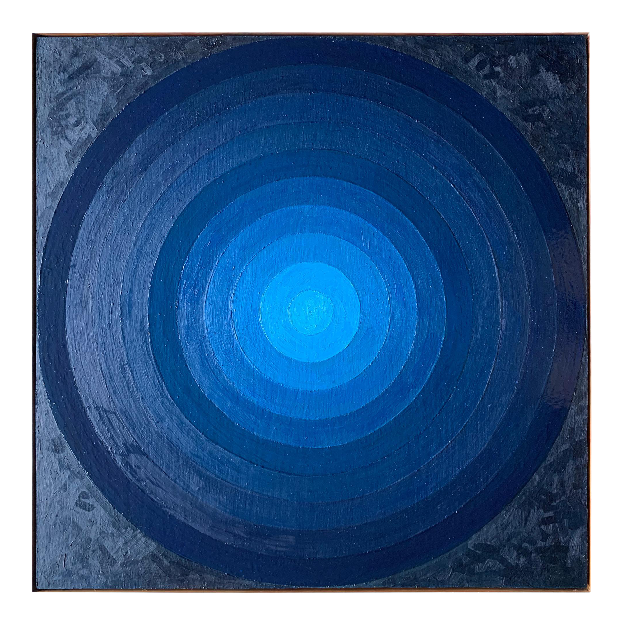 Contemporary Minimal Blue Circle Target Oil Painting Pulse By Jeb Knight In 2020 Oil Painting Blue Painting Painting