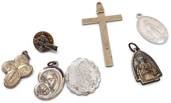 7 vintage christian catholic pendants pins and medals christian 7 vintage christian catholic pendants pins and medals christian jewelry lot cross guardian angel st joseph jude aloadofball Image collections