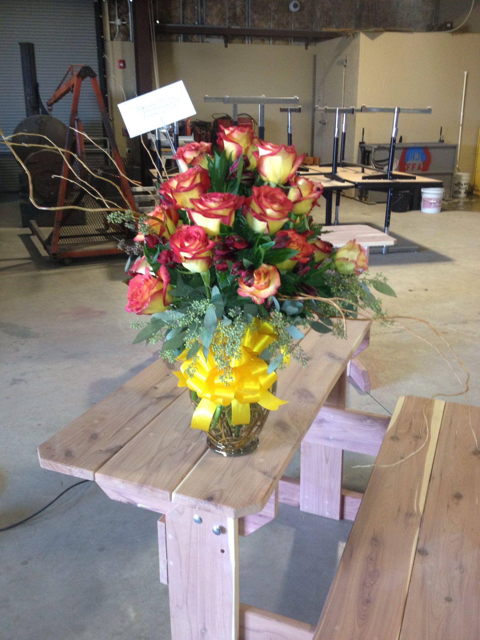 Anniversary Arrangement | Table decorations, Arrangement ...
