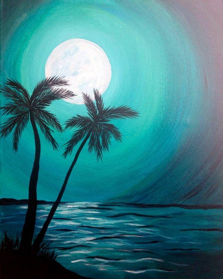 Ночные пальмы у моря. УЧУ РИСОВАТЬ онлайн, в Одинцове и в ...