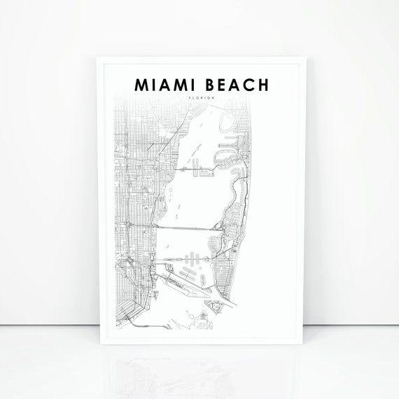 Miami Beach Map Print, Florida FL USA Map Art Poster, City ...