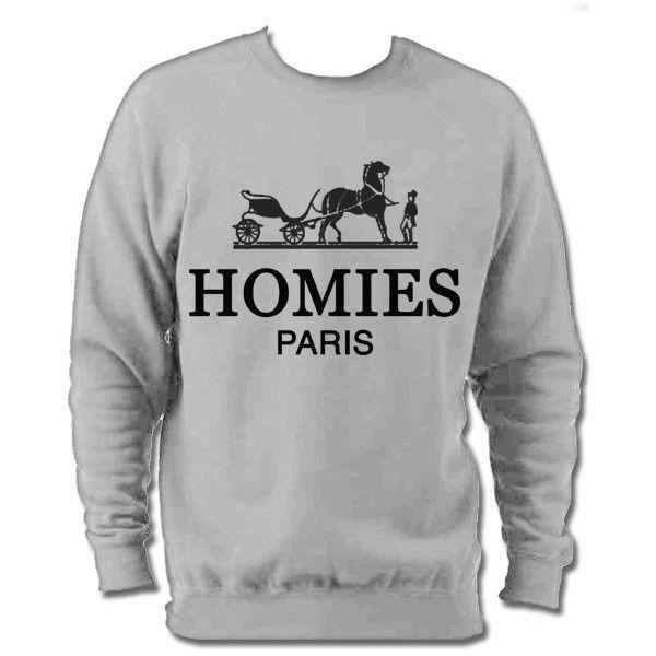 Hermes parody designer fashion slogo cosy sweater ($34) ❤ liked on Polyvore