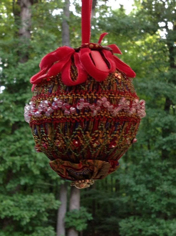 Smocked Christmas Ornament. Smocked and Beaded Ornament ...