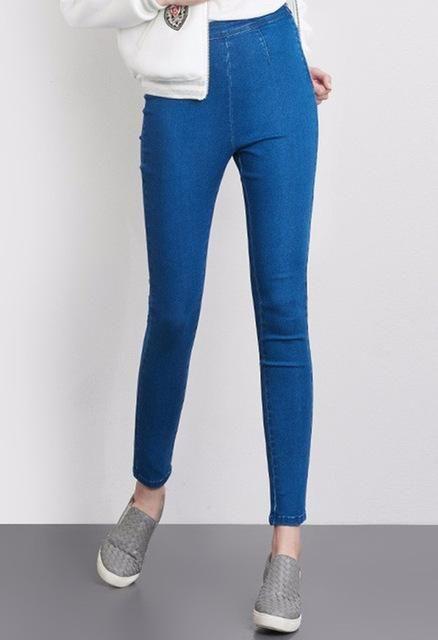 a30617f0cf0 spring jeans Women Plus Size Side Zipper Legging High Waist Elastic Skinny  mom Pencil Pants black blue 6XL