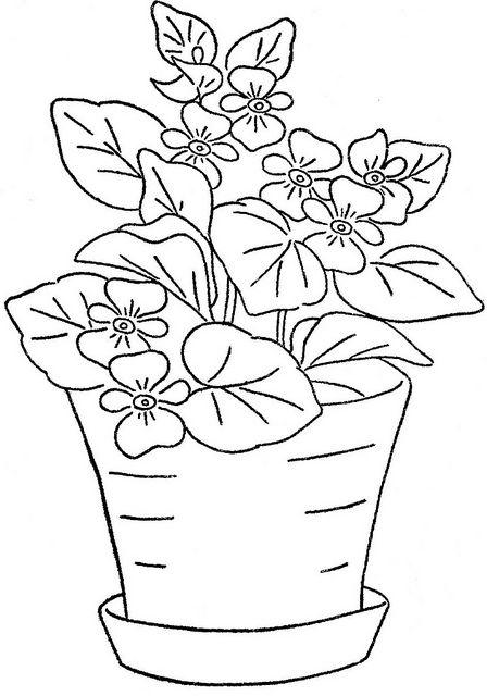 Resultado De Imagem Para Vasos Com Violetas Desenho Uzor Dlya