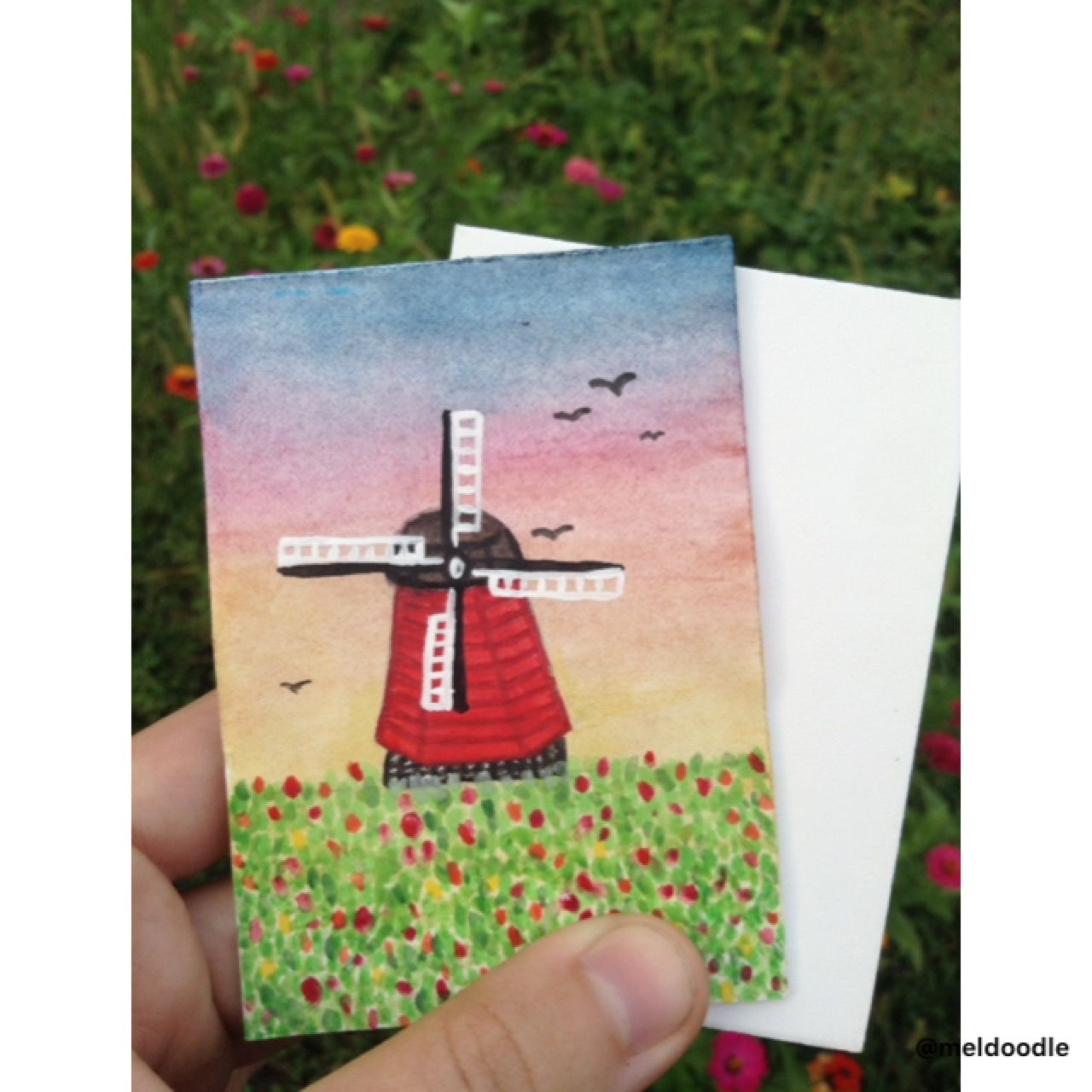 Artists trading card done with watercolors (Instagram: @meldoodle)