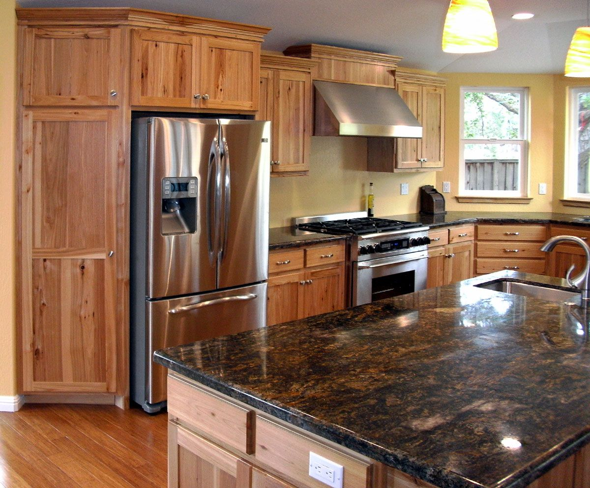 remarkable kitchen countertops | Natural Kitchen Design With Hickory Kitchen Cabinets ...