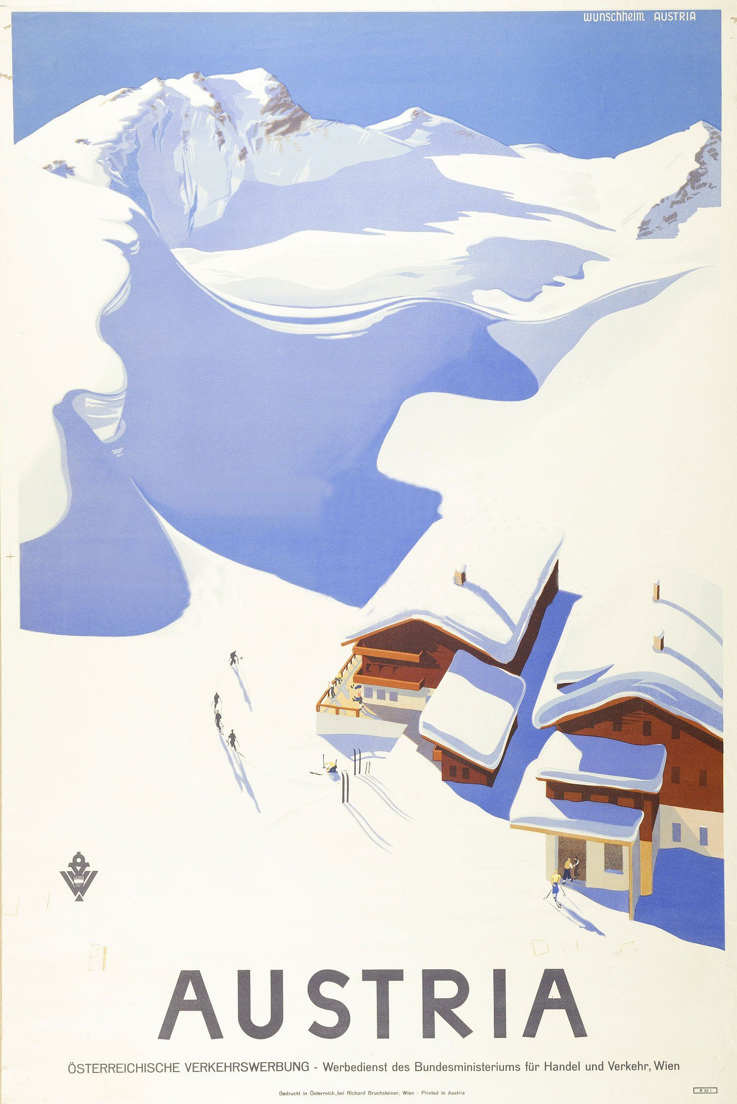 Large Vintage Travel Poster Skiing In Austria Amazon Co Uk